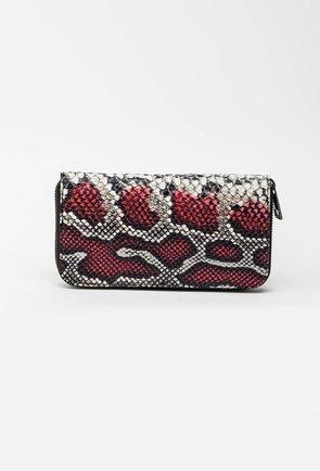 Portofel din piele naturala rosu si gri snake print 144992
