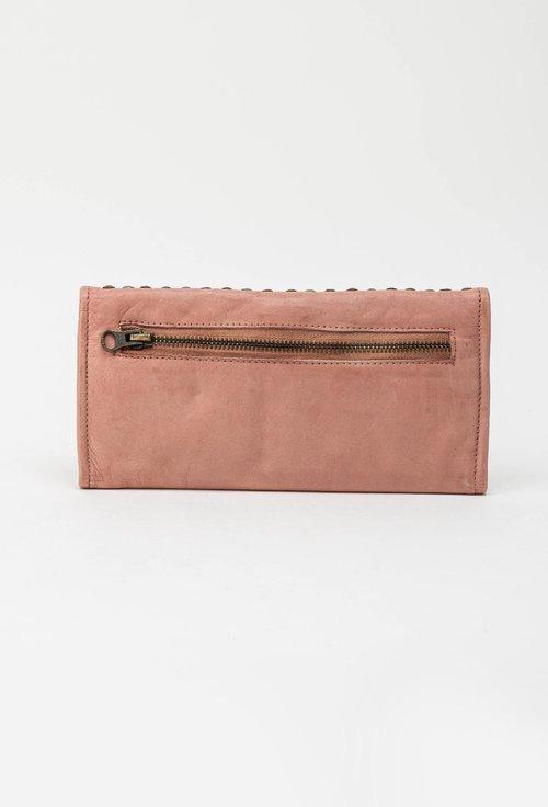 Portofel din piele naturala roz pudrat cu tinte 145011