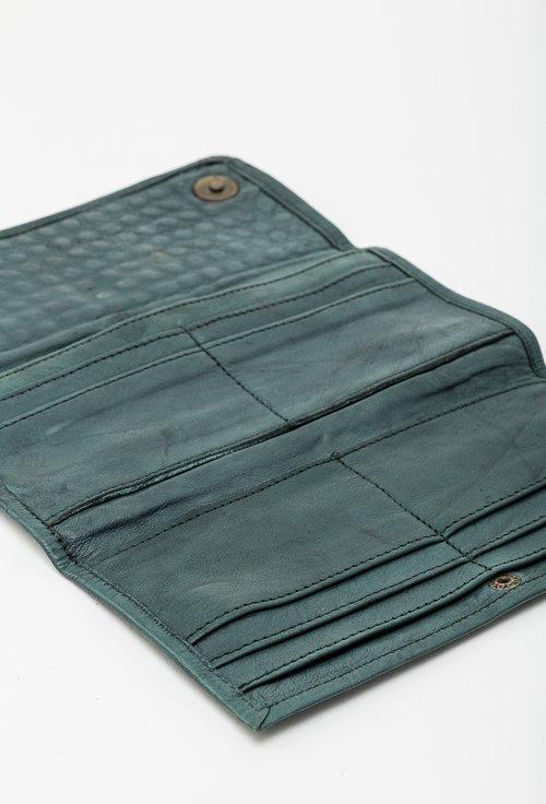 Portofel din piele naturala verde cu tinte 145010