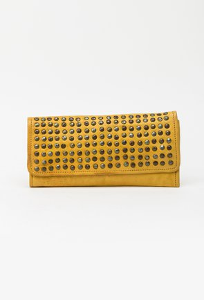 Portofel galben din piele naturala cu tinte 145008