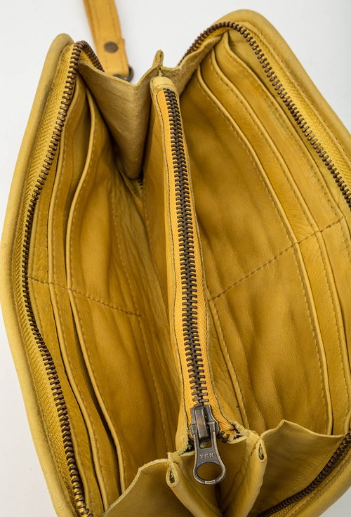 Portofel galben mustar din piele naturala cu tinte 145028