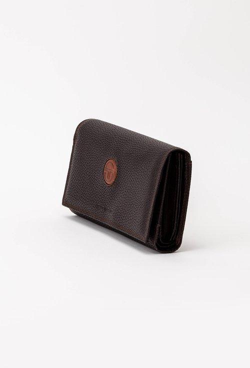 Portofel maro brun din piele naturala texturata