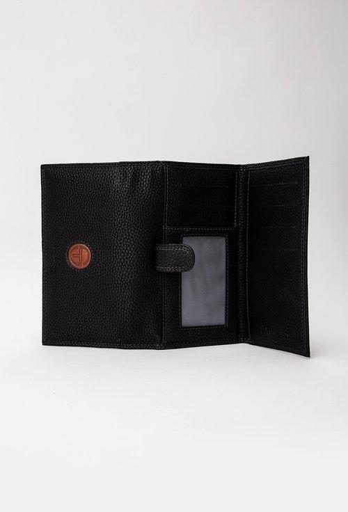 Portofel negru compartimentat din piele texturata