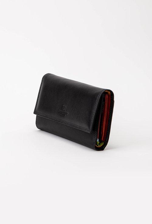 Portofel negru din piele cu capsa si interior colorat