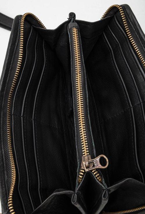 Portofel negru din piele naturala design impletit 145032