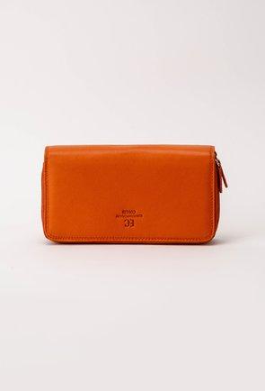 Portofel portocaliu din piele naturala cu doua compartimente
