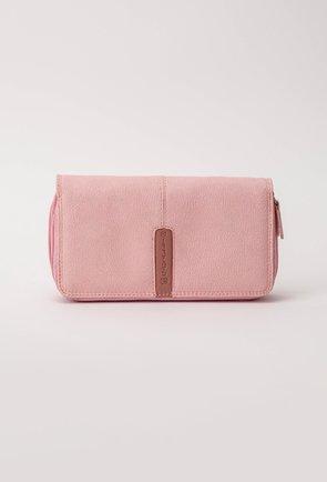 Portofel roz din piele cu doua compartimente
