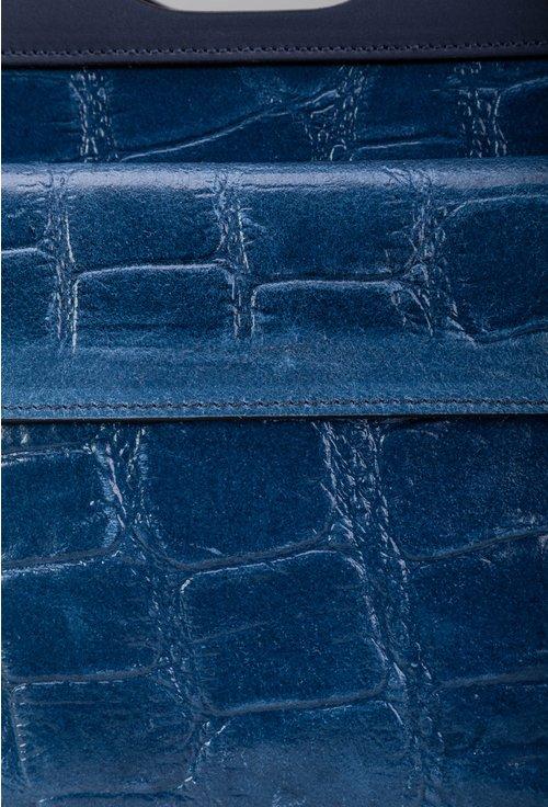 Poseta albastra din piele cu textura tip piele de crocodil