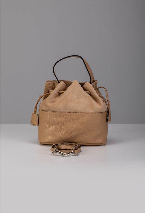 Poseta bej tip sac din piele naturala intoarsa si box