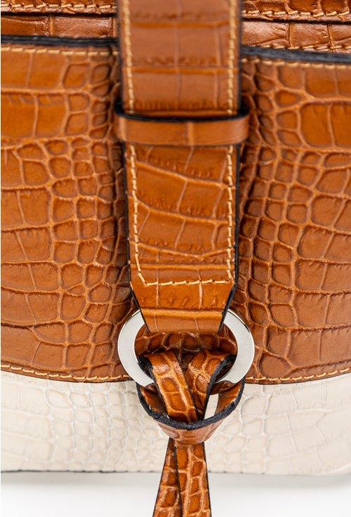 Poseta camel din piele naturala cu textura tip piele de sarpe
