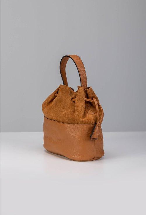 Poseta camel tip sac din piele naturala intoarsa si box