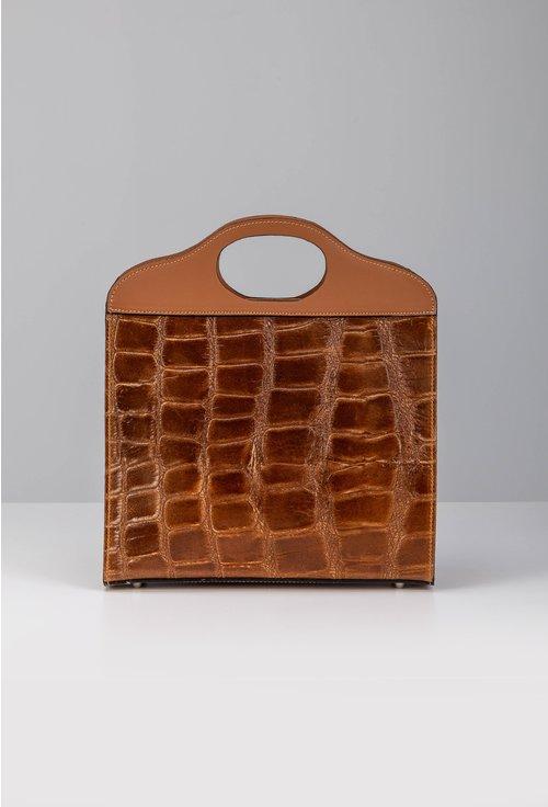 Poseta maro din piele cu textura tip piele de crocodil