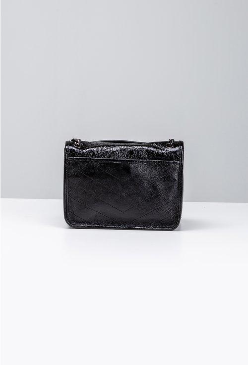 Poseta neagra din piele naturala texturata