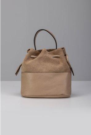 Poseta nude inchis tip sac din piele naturala intoarsa si box
