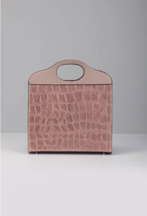 Poseta roz pal din piele cu textura tip piele de crocodil