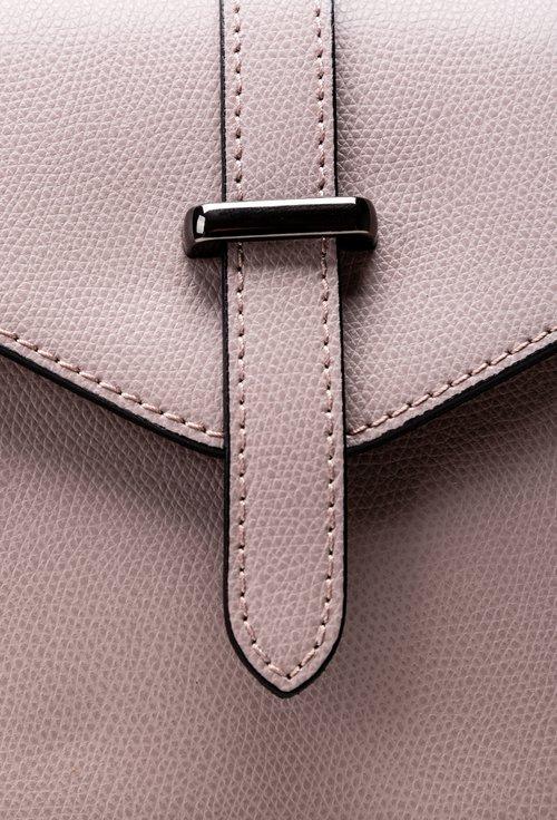 Poseta-rucsac lila din piele cu capac cu capsa magnetica