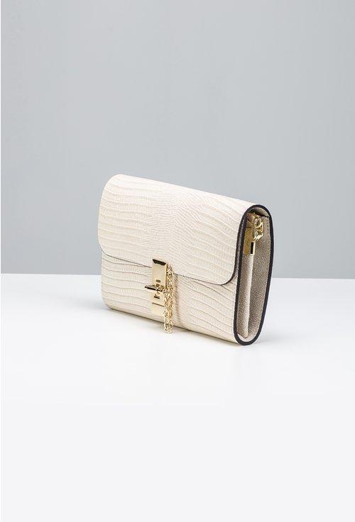 Poseta tip plic nuanta alb fildes din piele naturala