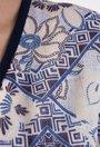 Rochie alb cu bleu si navy si insertii argintii Kelly