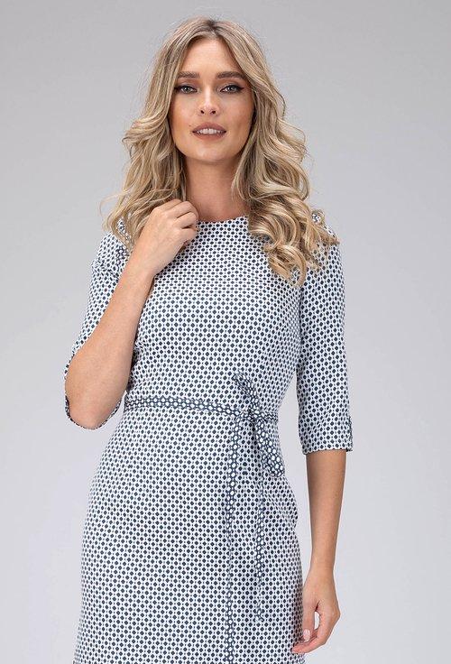 Rochie alb cu bleumarin cu imprimeu geometric Kristen