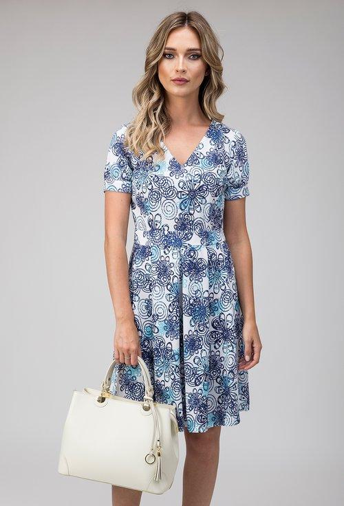 Rochie alba cu imprimeu floral bleumarin Nely