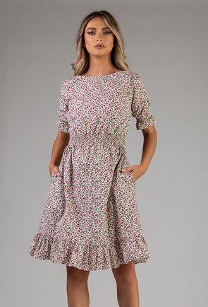 Rochie alba cu imprimeu floral colorat
