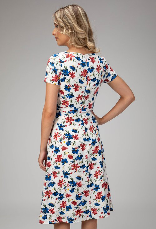 Rochie alba cu imprimeu floral colorat Emily
