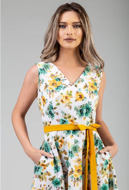 Rochie alba cu imprimeu floral galben
