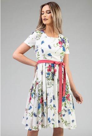 Rochie alba cu imprimeu floral si cordon roz