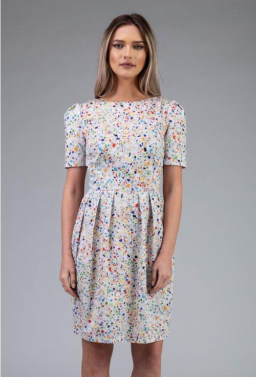 Rochie alba din bumbac cu picatele colorate