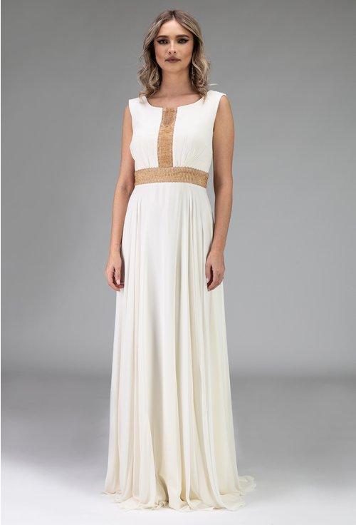 Rochie alba din voal in stil grecesc