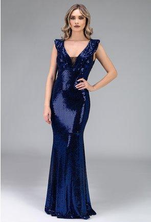 Rochie albastra cu aplicatii sclipitoare tip paiete