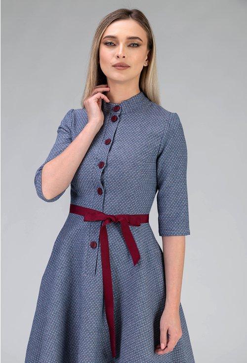 Rochie albastra cu imprimeu geometric