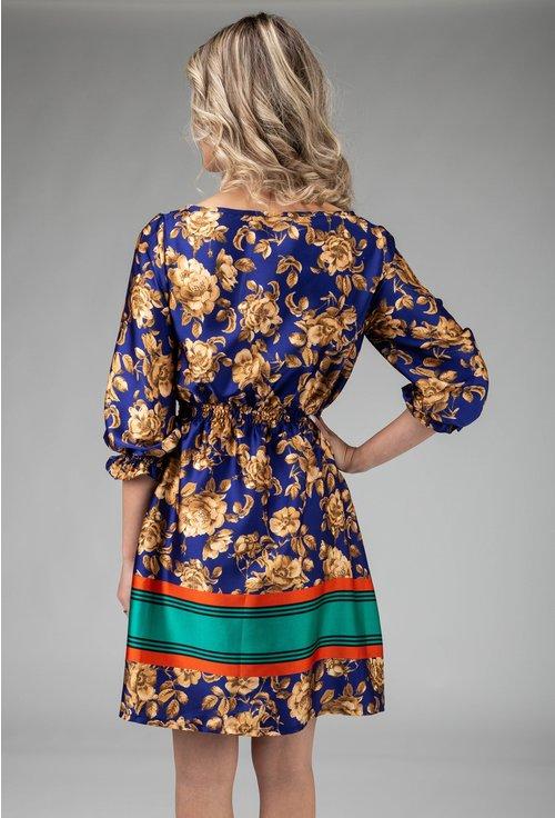 Rochie albastra cu imprimeu trandafiri