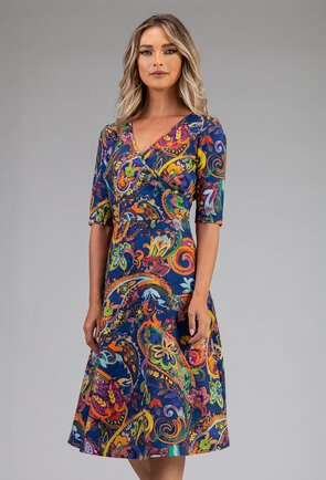 Rochie albastra din bumbac cu imprimeu abstract