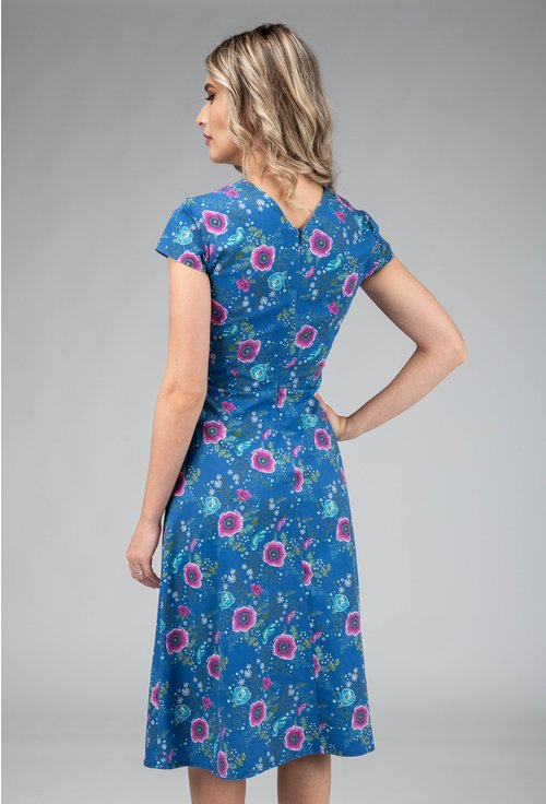 Rochie albastra din bumbac cu imprimeu floral Aime