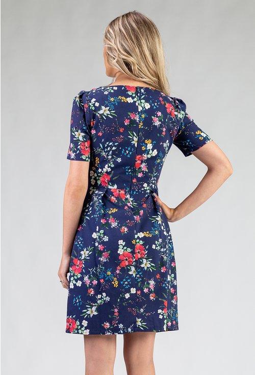 Rochie albastra din bumbac organic cu imprimeu floral