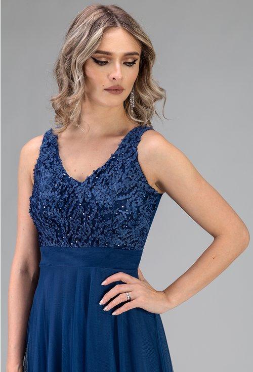 Rochie albastra din tull cu aplicatii florale