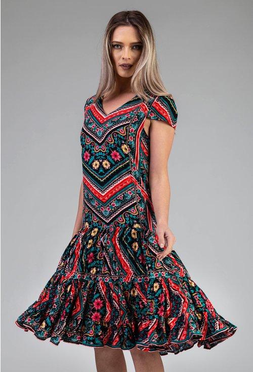 Rochie ampla cu imprimeu abstract multicolor
