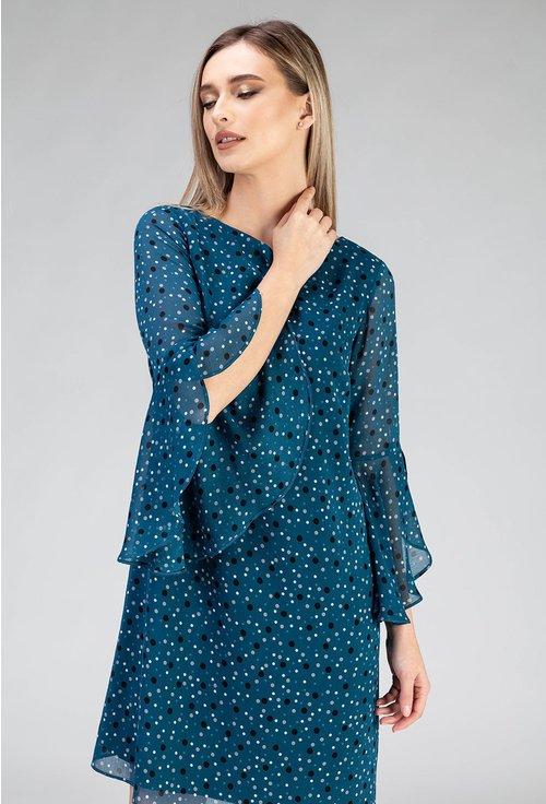 Rochie bleu cu buline si volan la maneci