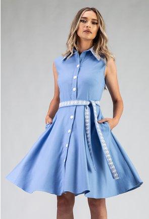 Rochie bleu din bumbac cu nasturi si rever