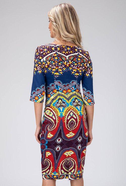 Rochie bleumarin cu imprimeu abstract colorat