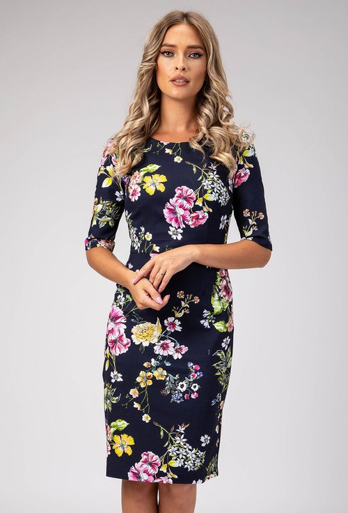 Rochie bleumarin cu imprimeu floral colorat Corina