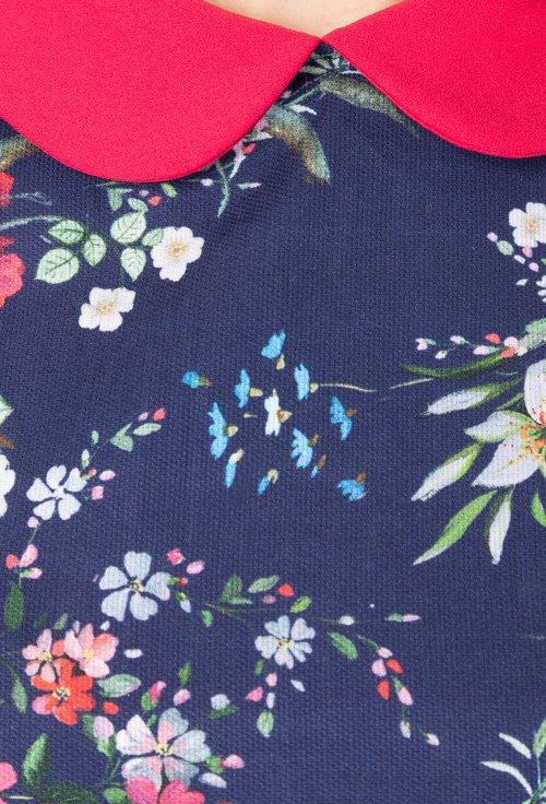 Rochie bleumarin cu imprimeu floral Mary