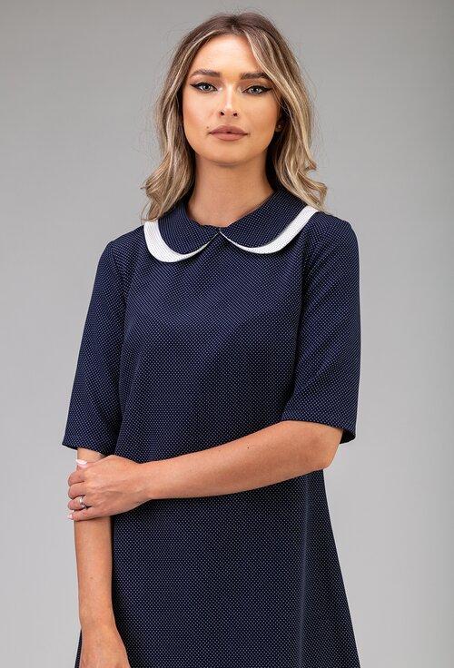 Rochie bleumarin cu picatele mici albe