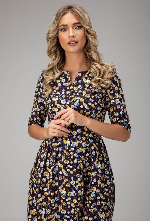 Rochie bleumarin din bumbac cu imprimeu floral Grace