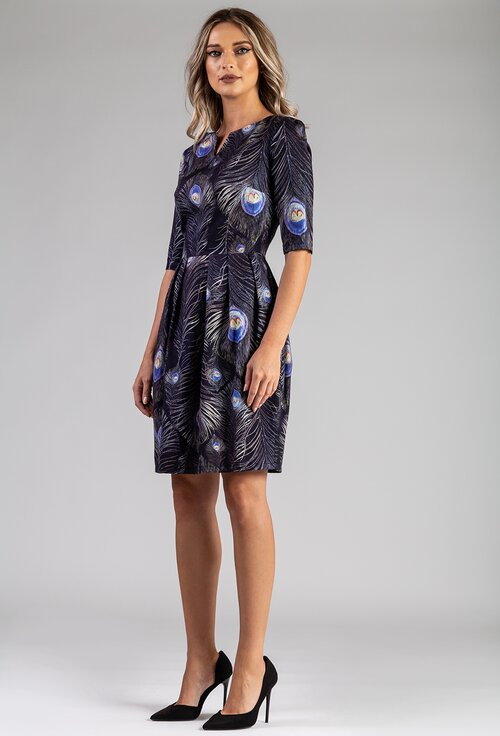 Rochie bleumarin din bumbac cu imprimeu pene de paun