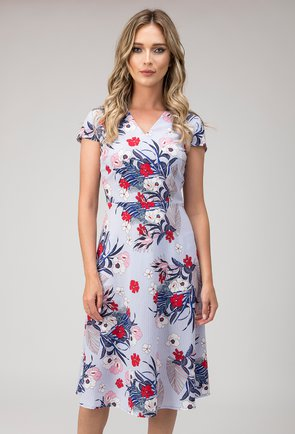 Rochie blue cu dungi si imprimeu floral colorat Caroline