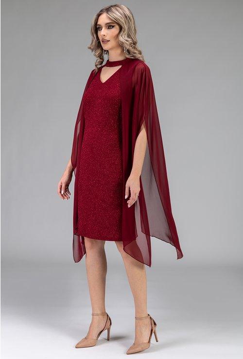 Rochie bordo cu capa din voal