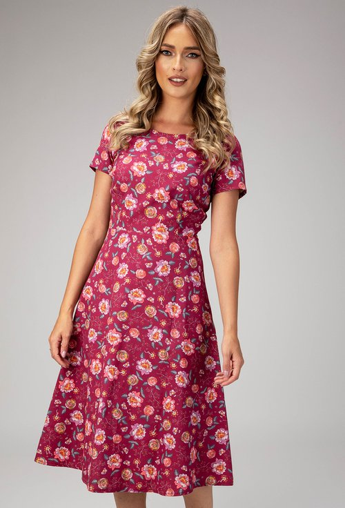 Rochie burgundy din bumbac Paola