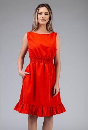 Rochie corai cu volan si elastic in talie